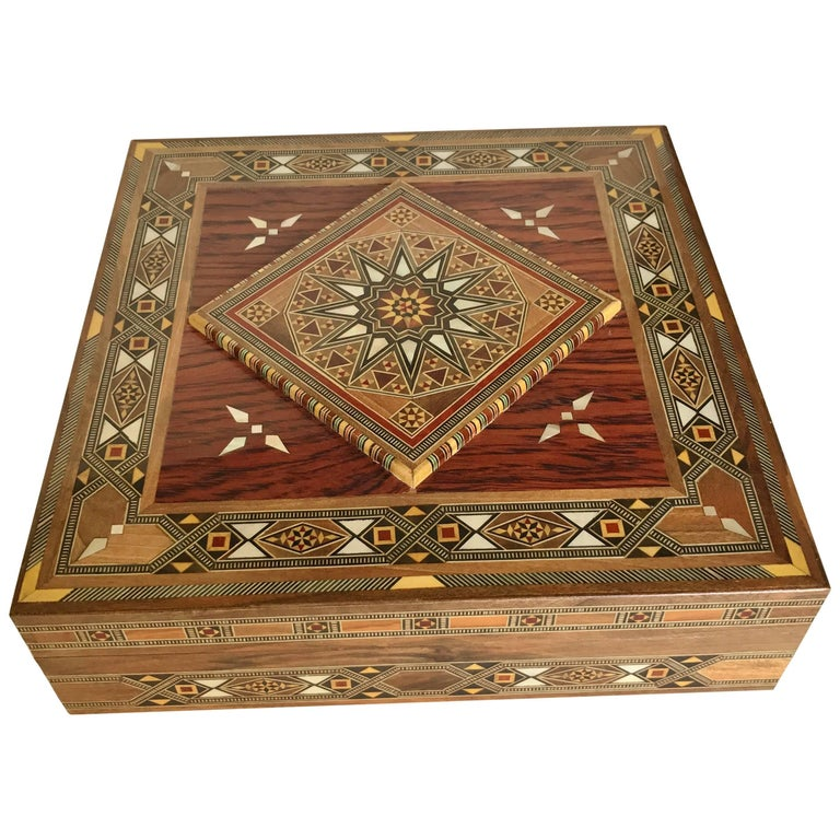 A Syrian Mother Of Pearl Bench Available To Purchase At: Syrian Walnut Wood Box Inlaid With Mother-of-Pearl, Cream