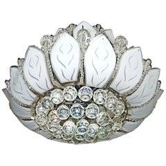 Hollywood Regency 2 Tier Crystal/Chrome/Art Glass Sun Flower 12-Light Chandelier