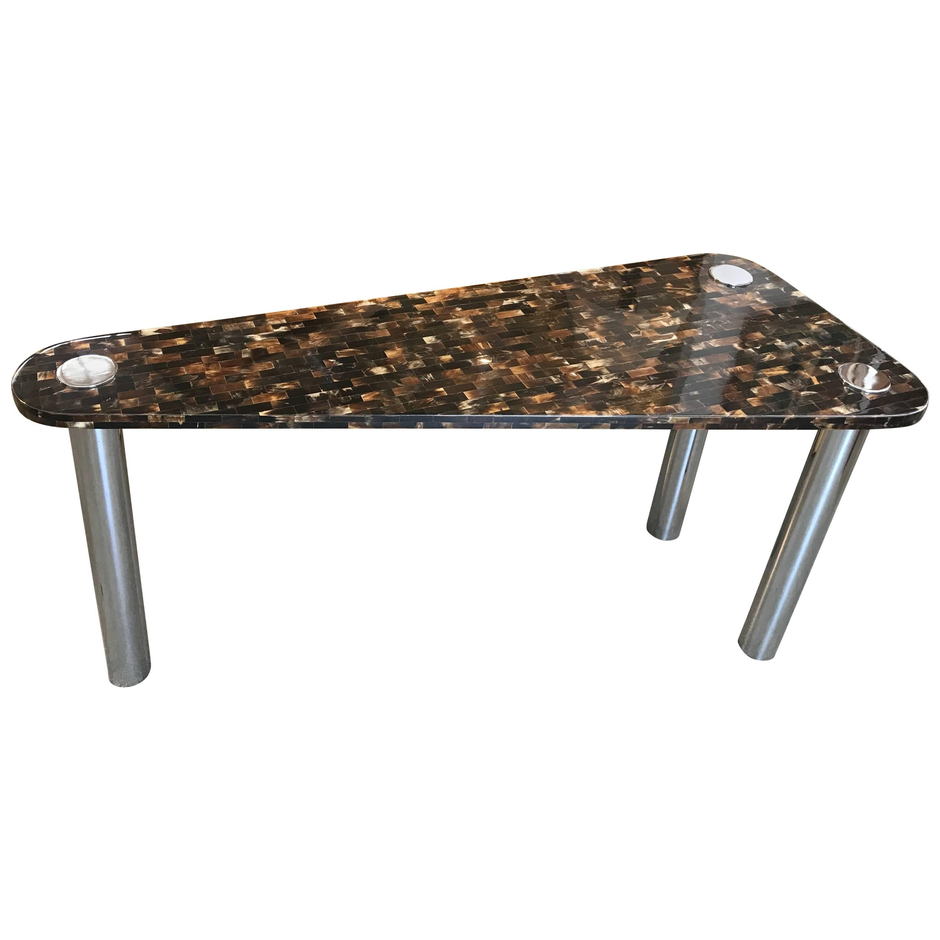 Tessellated Horn Console or Sofa Table in the Manner of Garcel & Springer