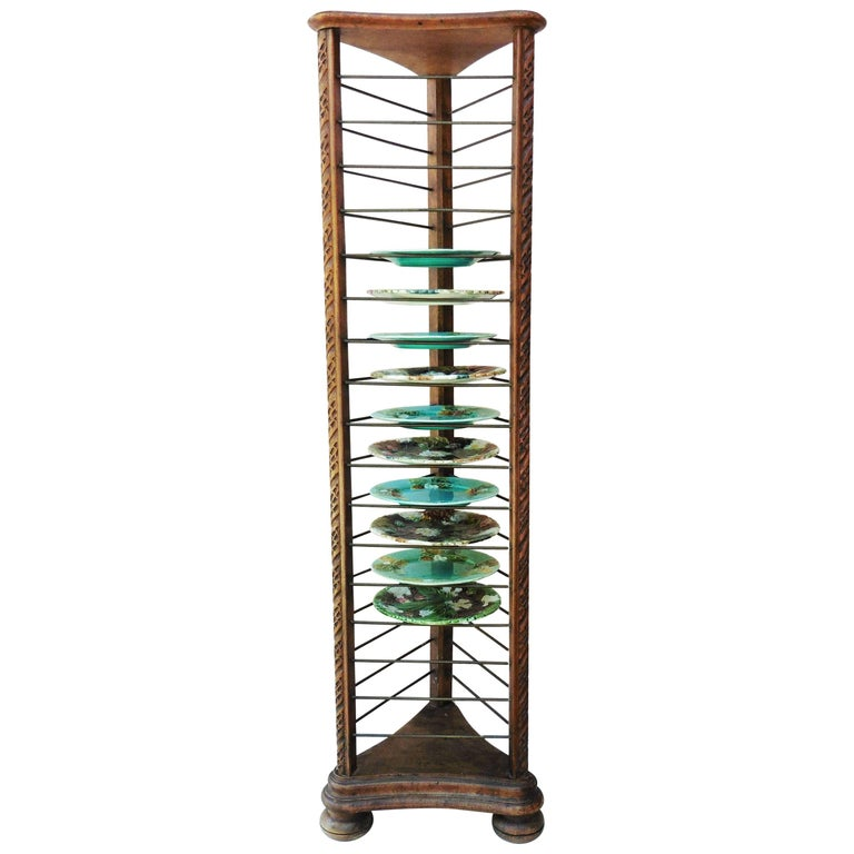 French Carved Plate Rack with Brass Holders, circa 1880 For Sale