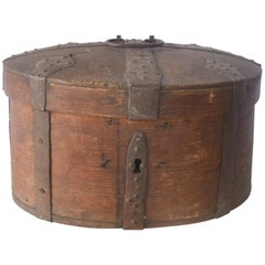 19th Century Wooden Swedish Food Box with Iron Straps and Handle