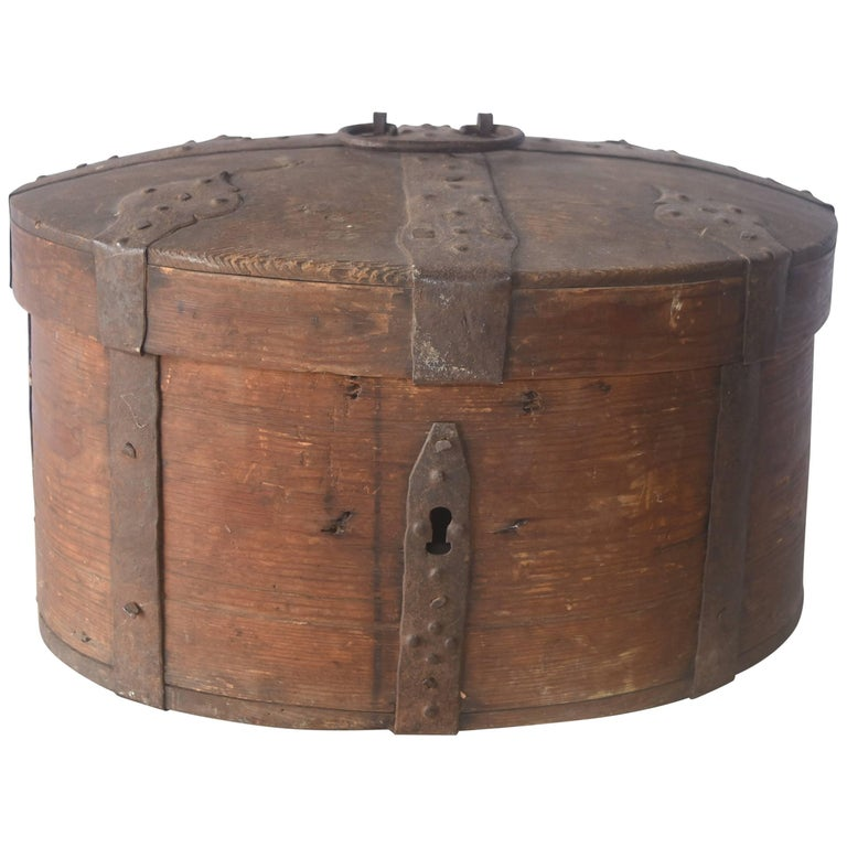 19th Century Wooden Swedish Food Box With Iron Straps And