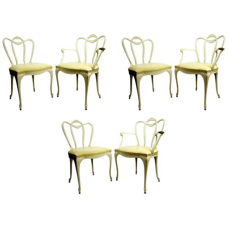 Set Six Patio Dining Chairs in Cast Aluminum by Crucible
