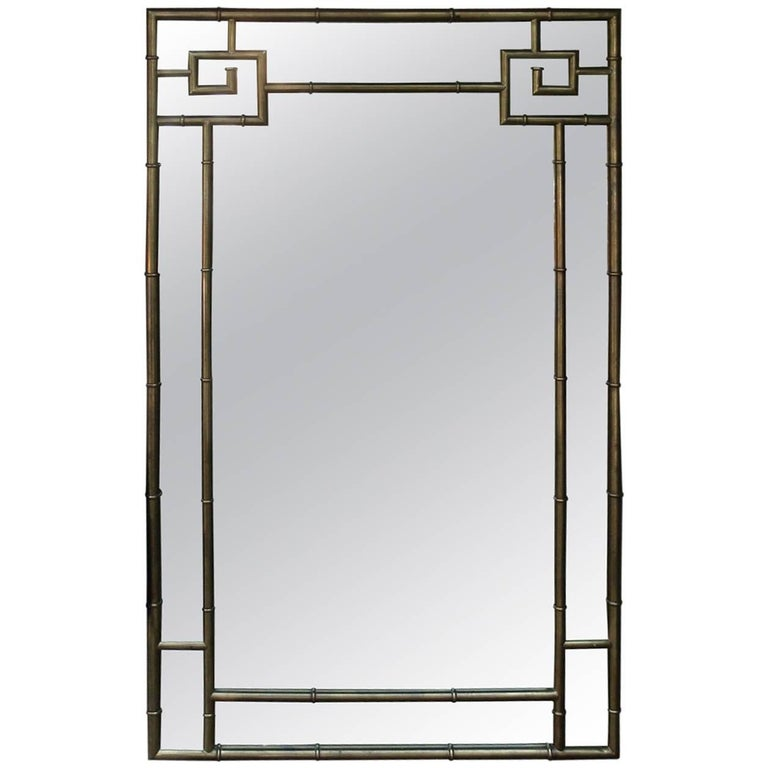 Brass Bamboo Greek Key Mirror