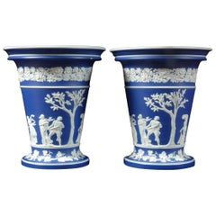 Pair of  Large Jasperware Wedgwood Flower Urns
