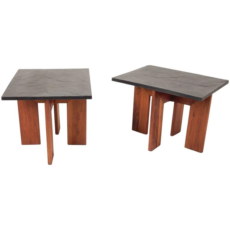 Mid-Century Adrian Pearsall Black Slate and Walnut Side Tables For Sale