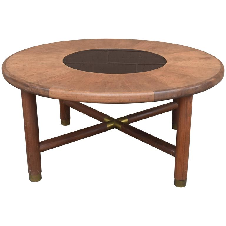 Mid-Century Danish Rosewood Coffee Table with Smoke Glass Inset and Brass For Sale