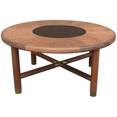 Mid-Century Danish Rosewood Coffee Table with Smoke Glass Inset and Brass