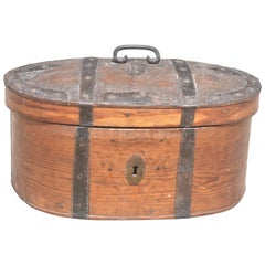 19th Century Swedish Wooden Food Box with Iron Hardware