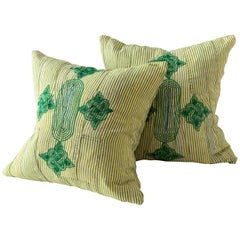 Vintage Grand Boubou Textile Pillow in Greens