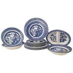 "Vintage Staffordshire, England Ceramic Dinnerware ""Blue Willow"" Set of 17 Pieces"