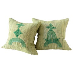 Vintage Grand Boubou Textile Pillow in Greens, Arches