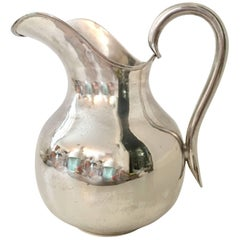 20th Century Modernist Mexican Silver Plate Pitcher-Signed