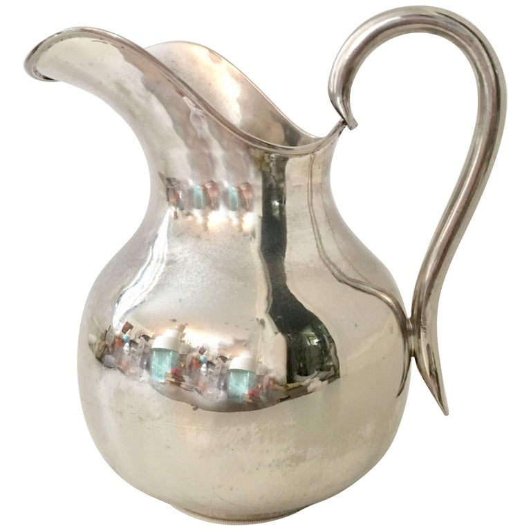 20th Century Modernist Mexican Silver Plate Pitcher-Signed For Sale