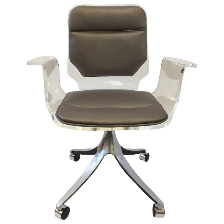 Sensational Acrylic And Leather Swivel Desk Chair On Casters By Hill Manufacturing Co Evergreenethics Interior Chair Design Evergreenethicsorg