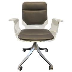 Acrylic and Leather Swivel Desk Chair on Casters by Hill Manufacturing Co.