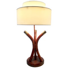 Mid-Century Rattan & Brass Leather Wrap Lamp By Ficks Reed