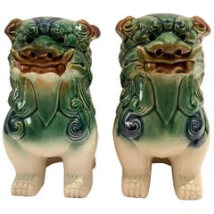 Pair of Chinese Polychrome Ceramic Glaze Foo Dogs