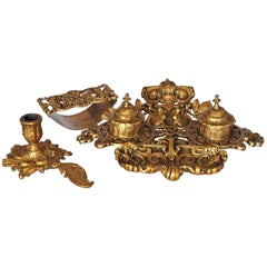 Late 19th Century Gilt Bronze Desk Set Inkwell with Ink Blotter and Candleholder