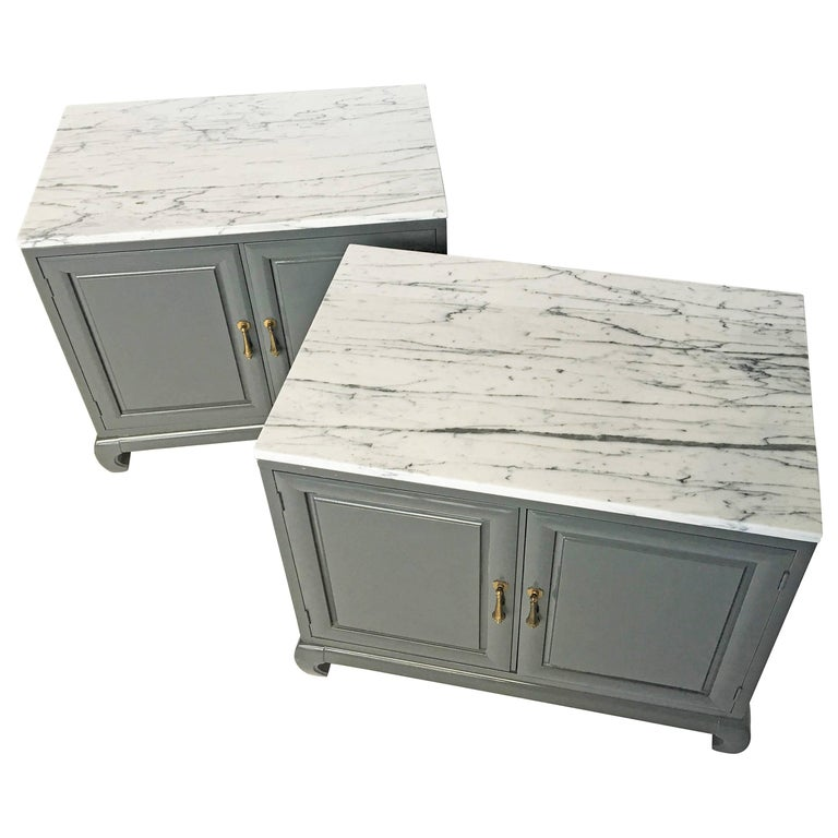 Pair of Modern Lacquered Cabinets with Brass Pulls and Marble Tops