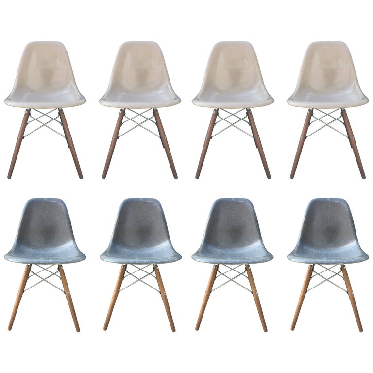 Eight Elephant Grey and Tan Herman Miller Eames Dining Chairs