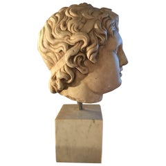 Marble Classical Head, Mid-20th Century