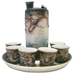 Mid-Century Porcelain Moriage Dragonware Saki Set of Eight