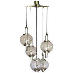 Stunning Mid-Century Modernist Glass Ball Chandelier by Kalmar