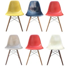 Six Multicolored Herman Miller Eames Dining Chairs