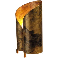 Table Lamp in Oxidized Brass, France, 1950