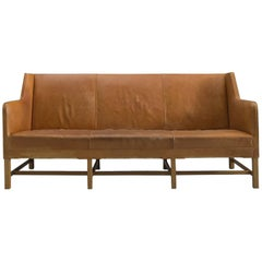 Kaare Klint Sofa in Oak and Original Cognac Leather