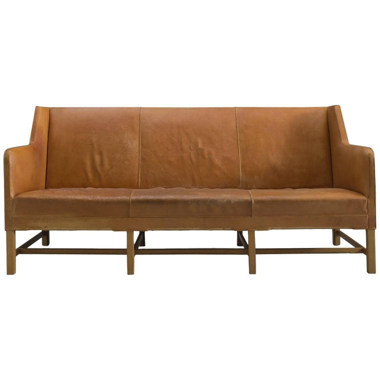 kaare klint sofa in mahogany and original cognac leather for sale at 1stdibs. Black Bedroom Furniture Sets. Home Design Ideas