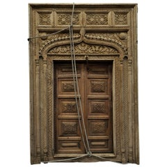 Indian Carved Wood Door and Window Frame, Period 19th Century