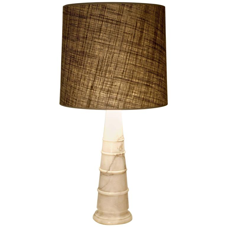 White Carrara-Marble Table Lamp, Italy 1970 For Sale