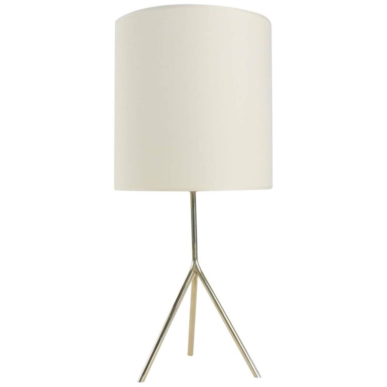 1950s Gilded Brass Table Lamp by Maison Lunel