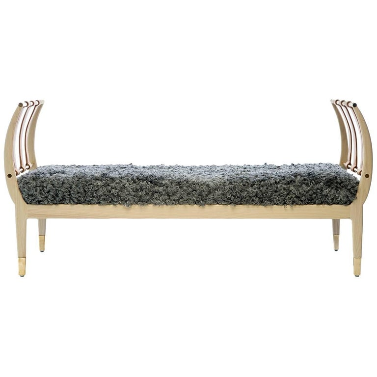Contemporary Handcrafted American Design Wood Bench with Leather Straps