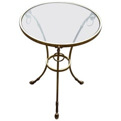 1970-1980 Pedestal Table in Gilt Bronze with Top in Glass Style Maison Charles