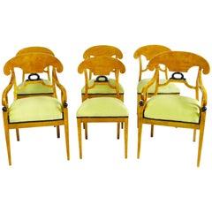 Dining Chair Set of Six 19th Century Swedish Biedermeier Karl Johan Period