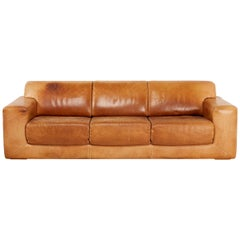 Scandinavian Sofa by Swedish DUX, Three-Seat in Brown Oxhide Leather