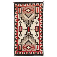Vintage Navajo Carpet, Handmade Rug, Brown, Blue, Beige, Taupe Soft Red Color