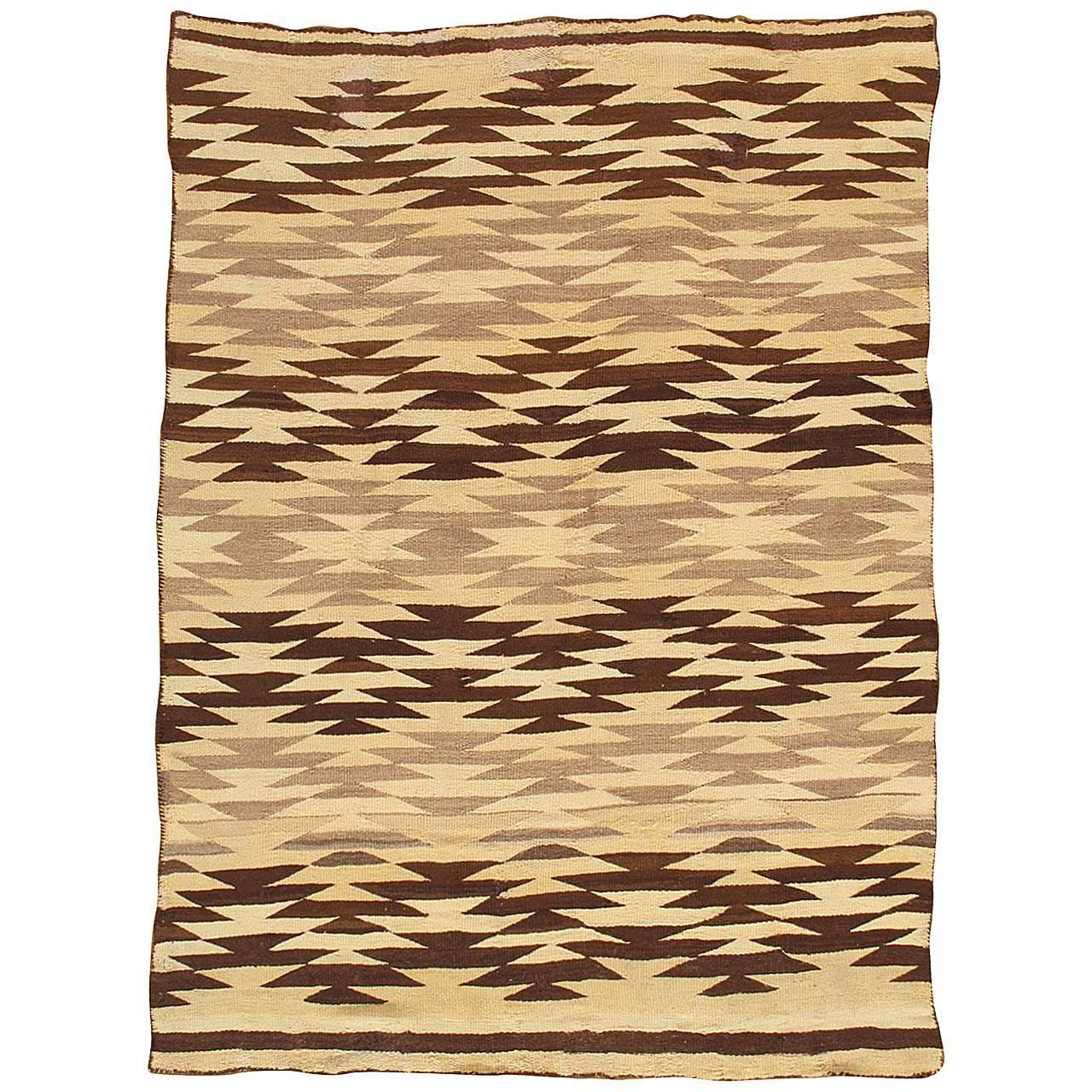Vintage Navajo Carpet, Handmade Rug, Brown, Blue, Beige, Taupe Soft Red Color
