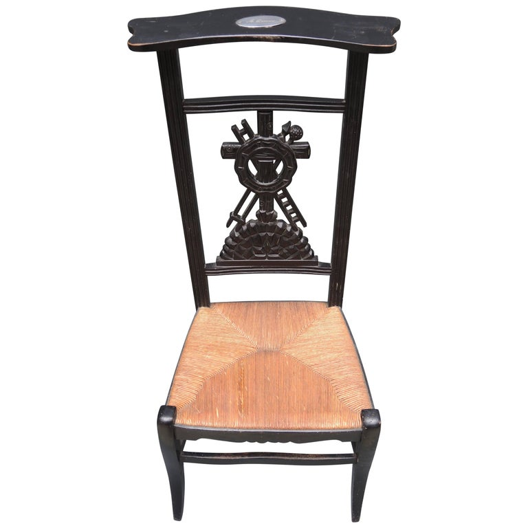 19th Century French Prie-Dieu Prayer Chair with Detailed Carving