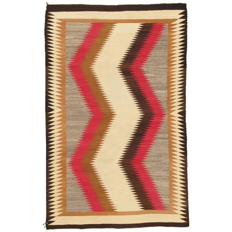 Vintage Navajo Rug Handmade Kilim Brown Red Beige Tan