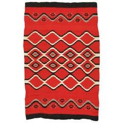 "Antique Navajo Blanket ""Bird Eye"" Design Oriental Rug, Fine German town wool Red"