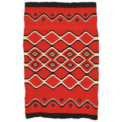 "Antique Navajo Blanket ""Bird Eye"" Design Oriental Rug, Fine German town wool Red"