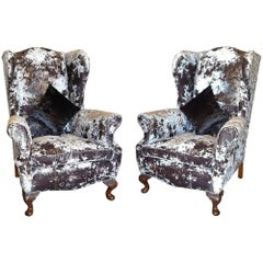 Pair of Early 20th Century Oak Framed Wing Back Armchairs
