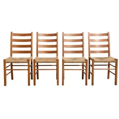 Set of Four Solid Pinewood Chairs with Rush Seat, 1950s