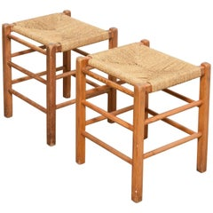 Set of Two Solid Pinewood Rush Seats, Stools, 1950s