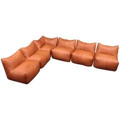 Six Pieces of Sectional Bambole Sofa, Mario Bellini for B&B Italia Tan Leather