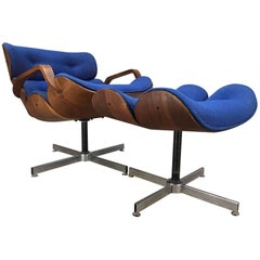 George Mulhauser for Plycraft Pivoting Lounge Chair with Ottoman